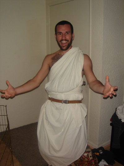 how to make a greek toga for men
